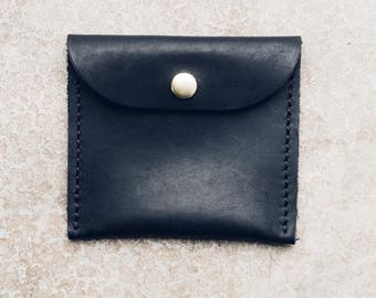 the coin + card pouch in black // minimal leather pouch + wallet