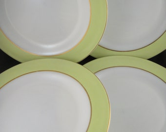 Pyrex Lime White and Gold Trimmed Dinner Plates Four (4)