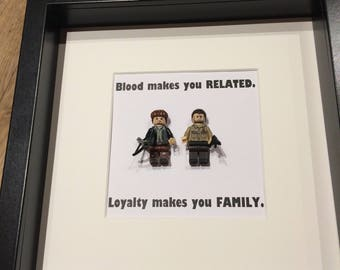 Unique The Walking Dead fan lego style mini figures gift frame Rick and Daryl with quote.