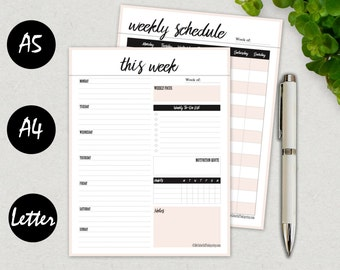 Weekly Planner Printable 2017, Weekly Schedule, Agenda Page, 2017 Weekly Planner Book, Printable Weekly Planner Kit, A5, A4, Letter, 8.5x11
