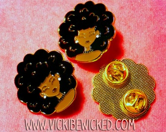 Afro Puff, Natural Hair Girl, Black Girl Pins, Soft Enamel Gold Plated Pins