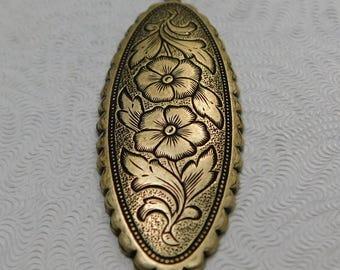 LuxeOrnaments Oxidized Brass Filigree Floral Pendant (Qty 1) 50x18mm S-8234-B
