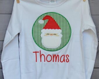 Santa Claus Patch Applique Shirt or Onesie Boy or Girl