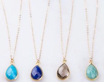 Gemstone Teardrop Gold Necklace, Gemstone Bezel Pendant Necklace, Gemstone Drop Necklace, Layered Necklace, Simple, Minimal Gold Necklace