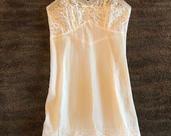 Vintage White Linen Slip with Lace Trim