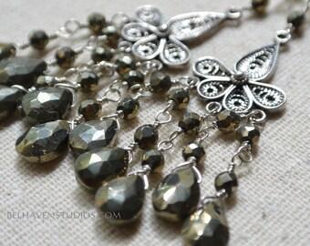 Iron pyrite Bali sterling silver earrings semi precious gemstone chandelier earrings Gemstone earrings Pyrite jewelry Balinese silver