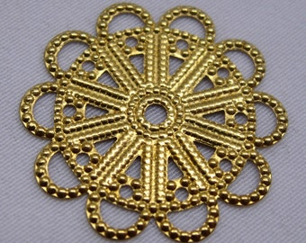 18pcs 23mm Gold Flower Filigree Brass Stamping Loose Findings bf087