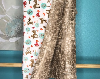 Minky Blanket Snow Fawns, Fawn Cappuccino backing
