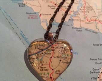 Sparta Vintage Map Pendant Necklace