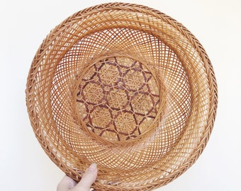 Beautiful Vintage Woven Basket With Caning Details