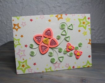 Quilled card/quilled flower/pink flower/blank card/greeting card