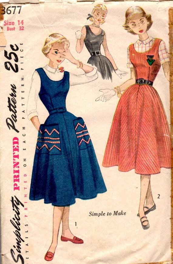 1951 Rock Einfachheit 3677 Größe 14 Mädchen im Teenageralter