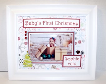 Baby's First Christmas My First Christmas Photo Mat - UNFRAMED 8x10 Mat for 4x6 or 5x7 Photo - FREE PERSONALIZATION
