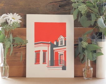 Screen Print of City Houses in the Fan Richmond, VA