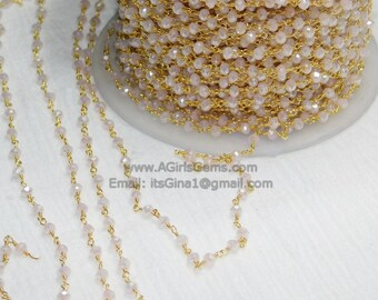 22k Gold Plated Pink Mystic Chalcedony Rosary Chain Wholesale 4 mm Chains for Jewelry Making Beaded Rosary Roll Bulk Shipped from USA