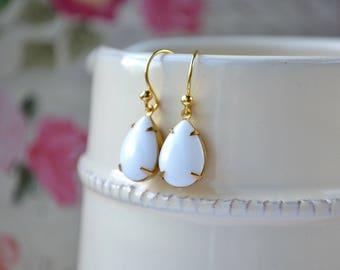 White Glass Earrings, Vintage Style Bridal Earrings, Wedding Jewellery, Large Teardrop Earrings, White Tear Drop Earrings, UK, Gift Women