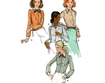 """1970s UNCUT Semi-Fitted Convertible Pointed or Rounded Collar Shirt Vintage Sewing Pattern Size 12 Bust 34"""" (87 cm) Butterick 6525 G"""