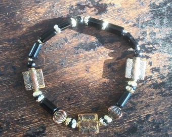 Black and copper bracelet