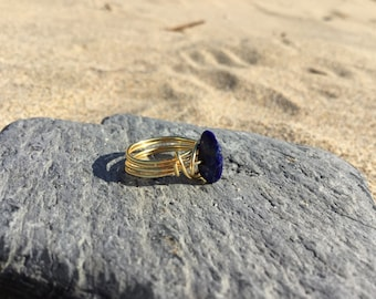 Size F Lapis Lazuli Gemstone wire wrapped Midi Knuckle ring