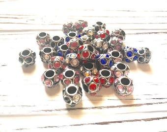 32 Pcs. European Beads Crystal Rhinestone Assorted Colors Euro Beads Charm Large Hole Rhinestone Spacer Beads