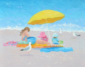 Beach decor, Mothers Day Gift, beach art, beach painting, beach artwork, coastal decor, seascape, mother and child art,coastal art
