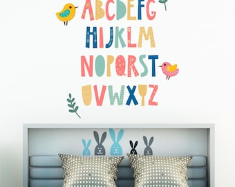 ABCs Printed Vinyl Decal - Nursery Decals - Alphabet - Wall Decor - Kids Room Decor - ABCs - Birdies - Home & Wall Decals - Large Wall Decor