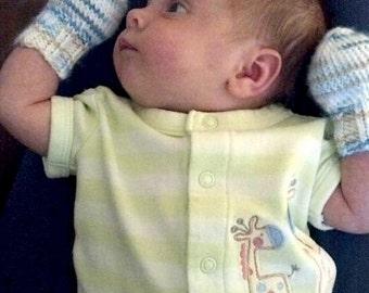 Newborn No-Scratch Knit Mittens Baby Boy Blue and Brown Baby Shower gift ideas under 20