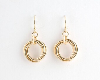 14k Gold Fill Love Knot Earrings Chainmaille Infinity Mobius Wedding Flower