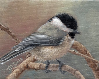 Black capped Chickadee - chickadee art - bird art print - chickadee print - bird painting