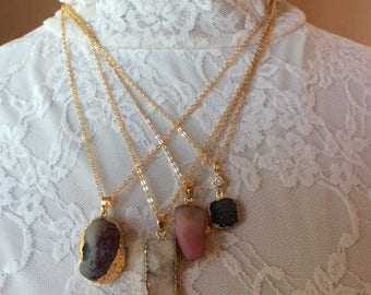 18-20 inch gold chain pendant druzy necklace,  raw crystal necklace