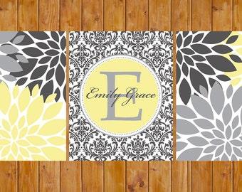 Floral Flower Burst Gray Yellow Nursery Damask Monogram Set of 3 Wall Baby Decor Bedroom Family Name Decor 8x10 DIY Printable (62)
