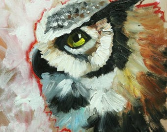 Owl painting 138 12x12 inch original oil painting by Roz