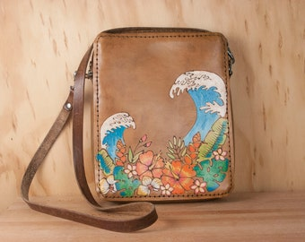 Leather Crossbody Bag - Tropical Flowers and waves in the Hanalei Pattern - Small Cross body purse with zipper closure - Third Anniversary