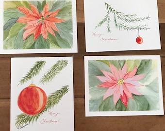 Set of 4 Christmas Cards watercolor prints Poinsettias