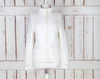 Vintage lambswool/cotton off white/ivory chunky knit cardigan sweater/high collar sweater/medium