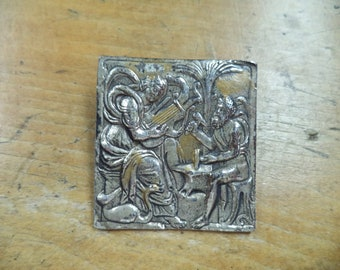 Vintage Signed ALVA Museum Replica Silver Brooch Craftsman Gods Musical Theme