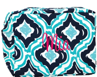Monogram Ikat Navy and Aqua Blue Makeup Bag | Large Cosmetic Bag | Personalized Cosmetic Case | Monogrammed Make Up Bag | Toiletry Bag Large