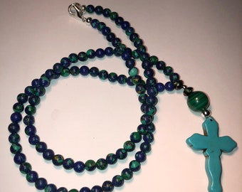 Carved Turquoise Stone Cross Bead Necklace
