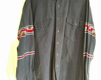 Vintage 1980s Mens Western Button Up 2XL Extra Large Southwestern Shirt