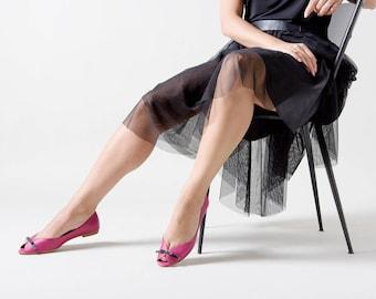 Pink elegant peep toe flats, handmade high quality leather shoes