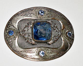 Antique C&R Silver Plate Silverplate Victorian Sash Pin Brooch