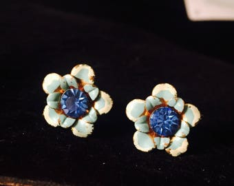Vintage Blue Enamel Pedal Flower Screwback Earrings With Large  Blue September Birthstone  In Center