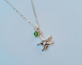 Beach Jewelry, Starfish Necklace, Sterling Silver Necklace, Crystal Necklace, Mermaid Jewelry, Summer Trend, Gifts, Best Friend Gift, Gift