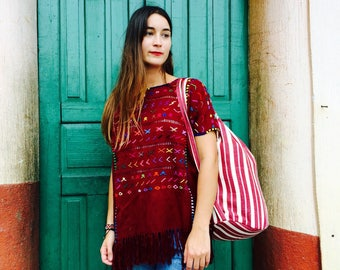 Handmade, Woven Guatemalan Huipil,100% organic cotton, Burgandy red