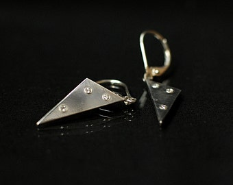 Silver Earrings Triangle Shaped with Diamonds