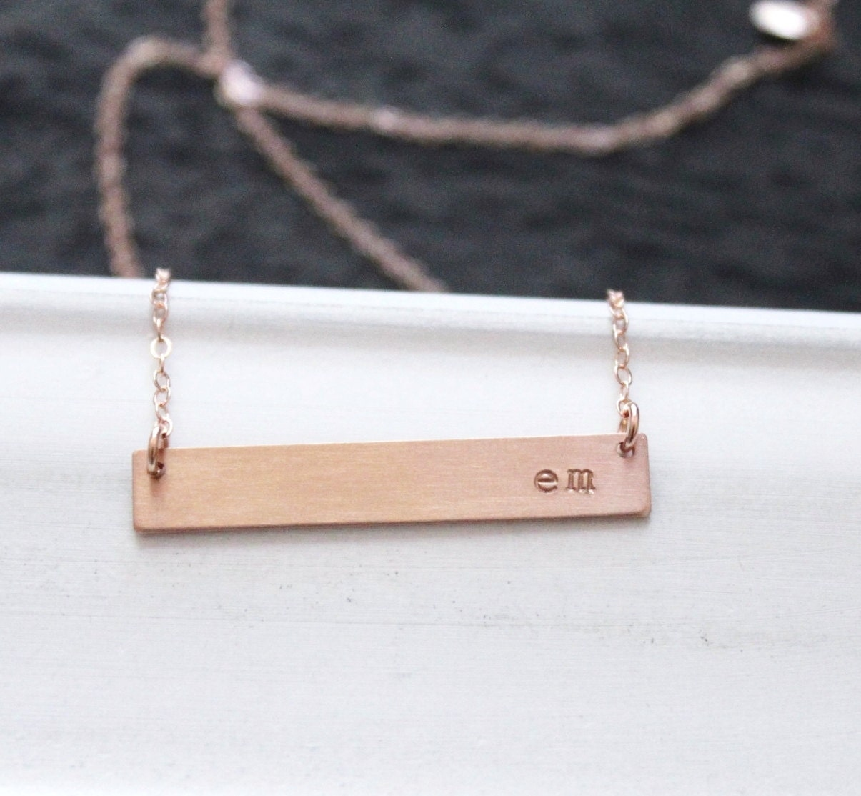 Rose gold bar necklace rose gold nameplate necklace zoom aloadofball Image collections