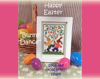 BUNNY DANCE Counted Cross Stitch Pattern chart Easter Spring