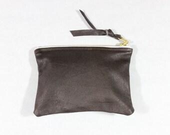 """Repurposed cuir 5"""" Mini portefeuille pochette / chocolat"""