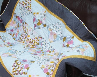 Modern quilt, handmade quilt, Cloud Nine organic cotton fabric, geometric shapes, sofa throw, luxury bed linen, contemporary blanket