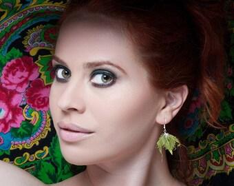 Chrysalis earrings. Silk and handcrafted vegetable dye